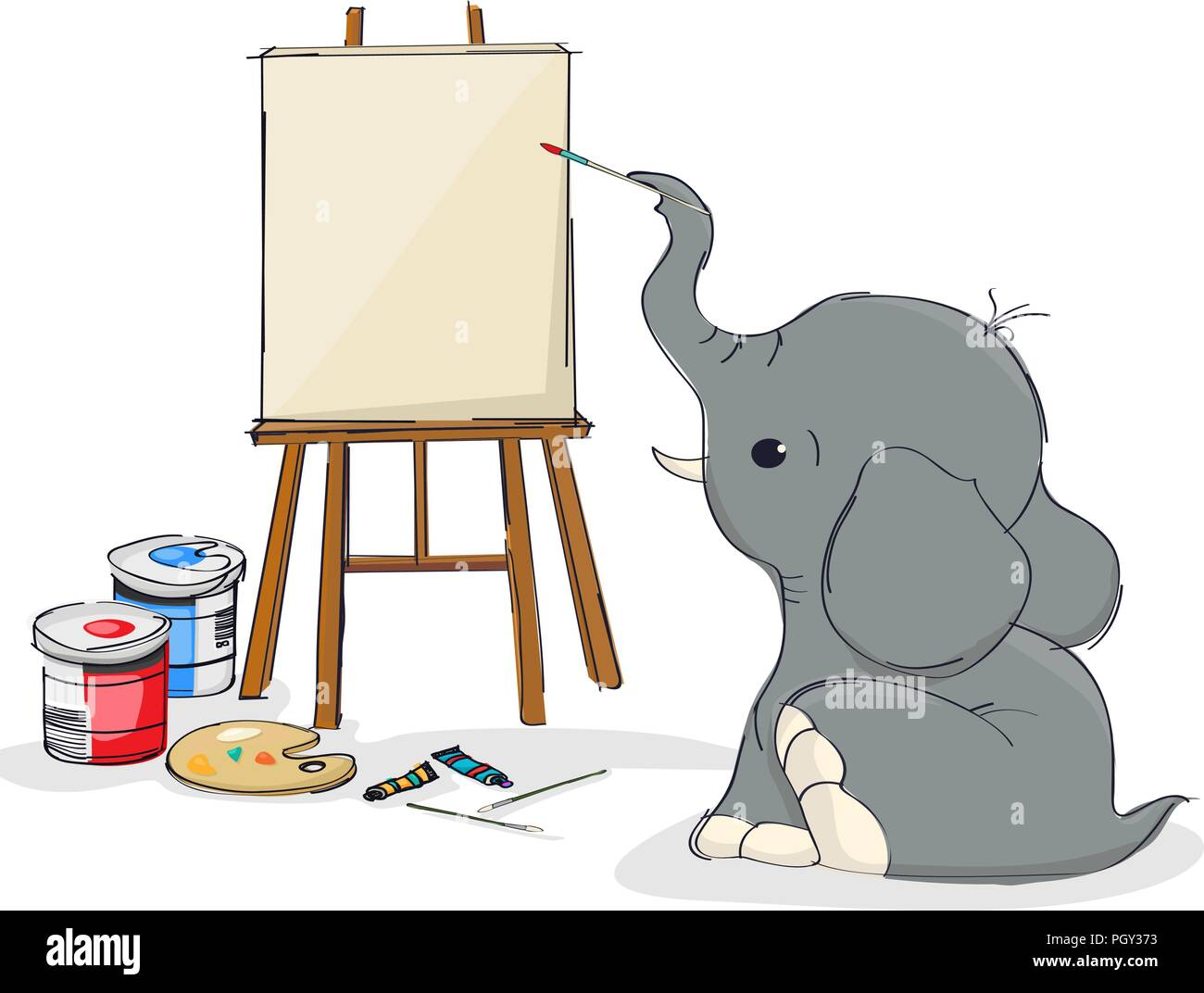 Cute little elepahnd with painting on canvas - Stock Image