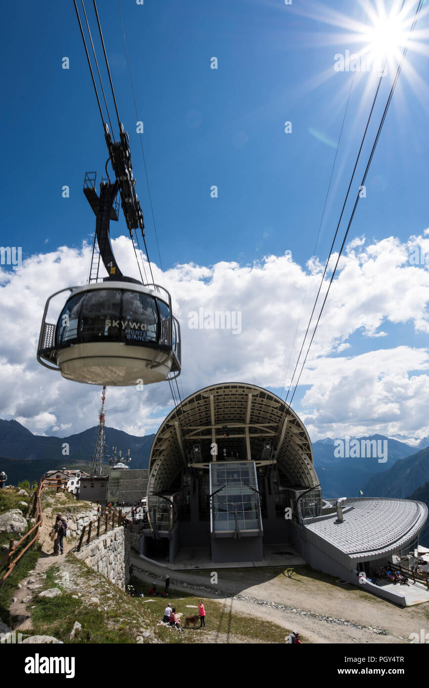 Cable car of Skyway Monte Bianco, Valle d'Aosta, Italy - Stock Image