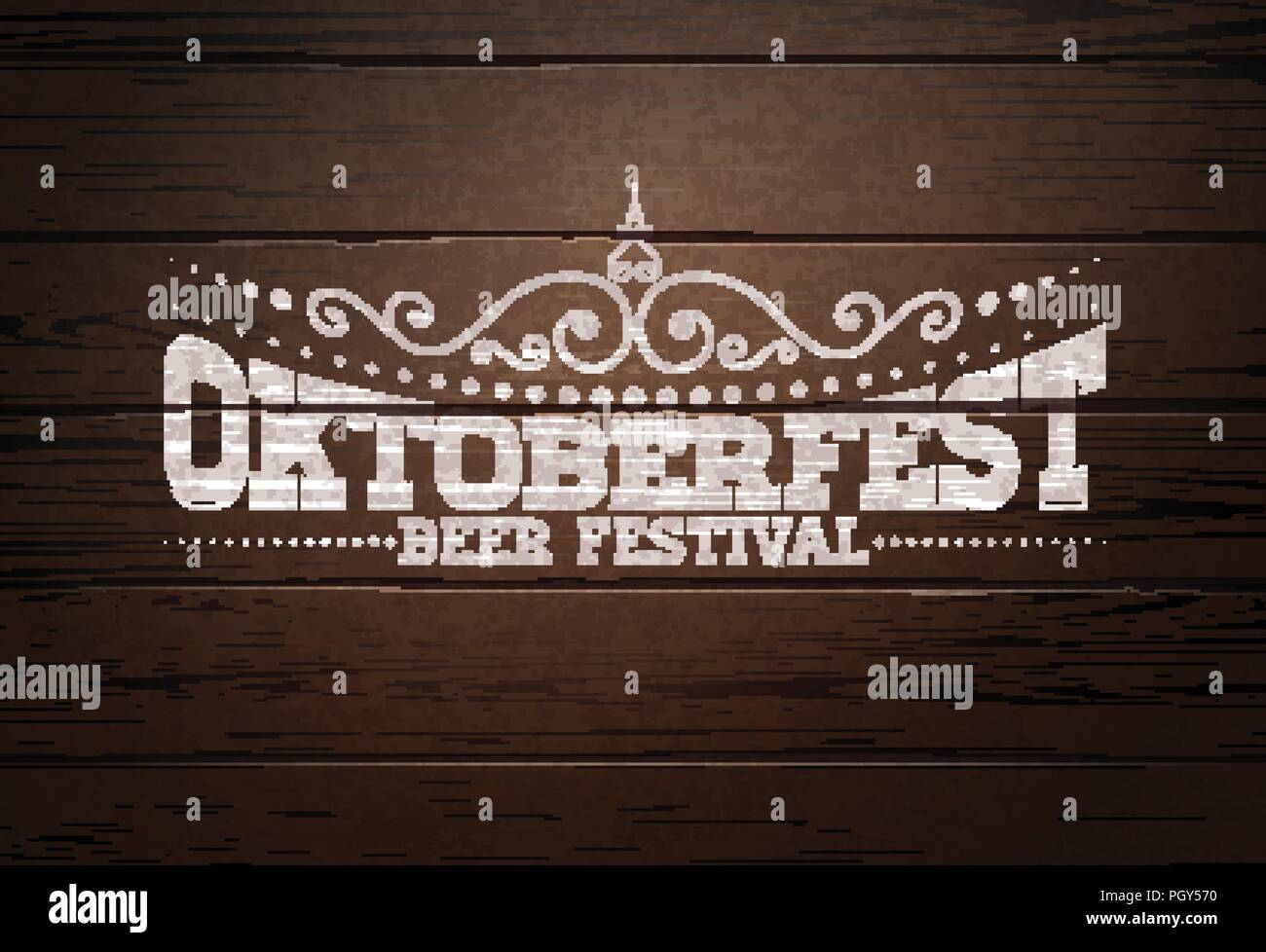 Oktoberfest Illustration with typography lettering on vintage wood background. Oktoberfest vector design for greeting card, banner, flyer, invitation or promotional poster. Celebration template for traditional German beer festival. - Stock Image