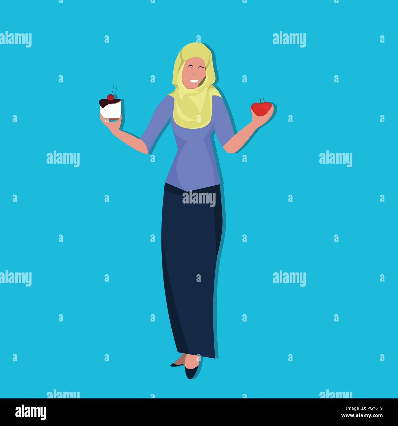 arabic woman holding cake apple resist temptation making