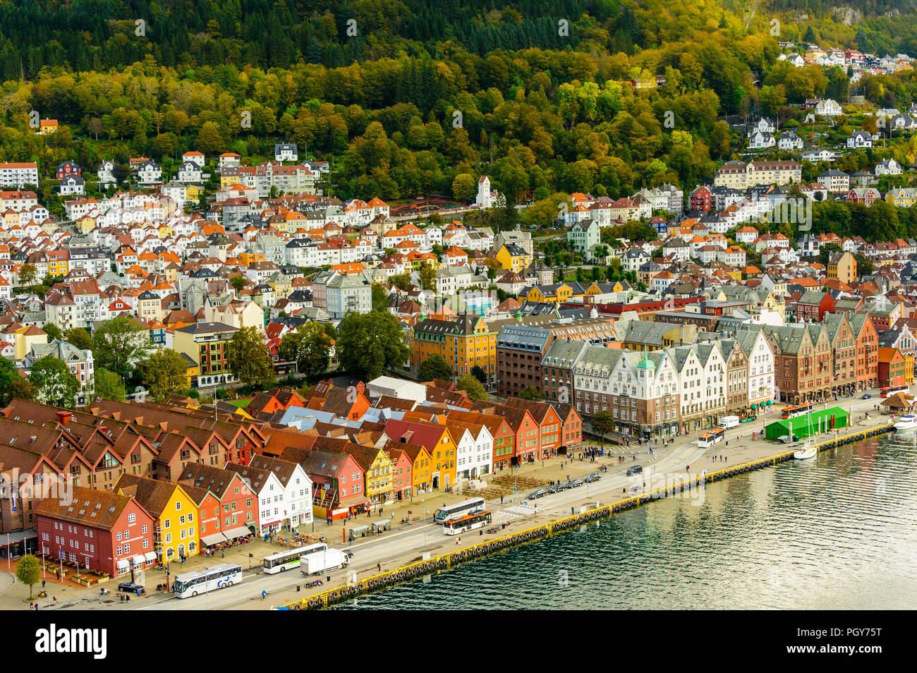 Bryggen in Bergen, on the Unesco World Heritage list - Stock Image