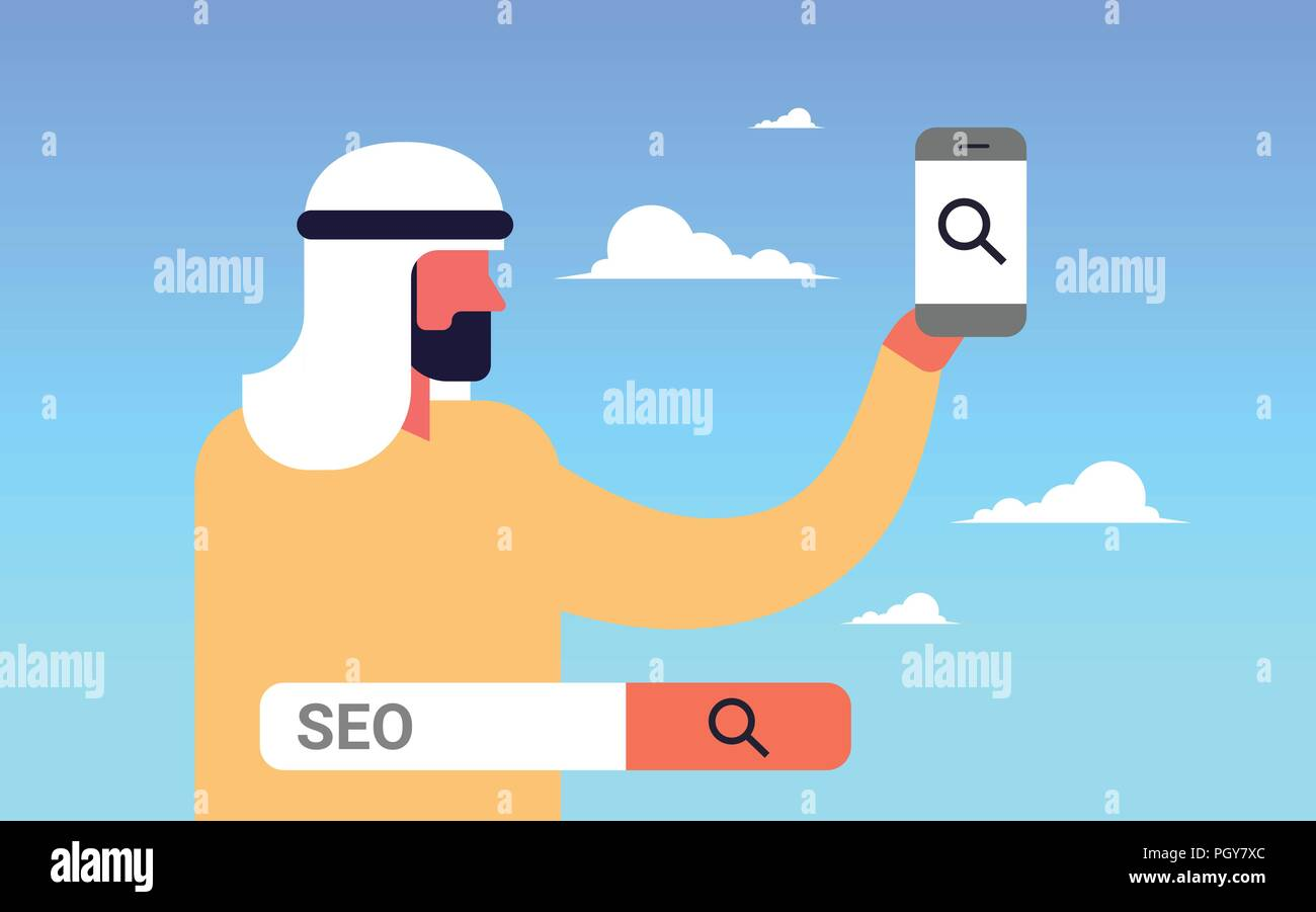 Seo Search Engine Optimization Arabic Man Using Smartphone Internet Searching Concept Process Flat Horizontal Stock Vector Image Art Alamy