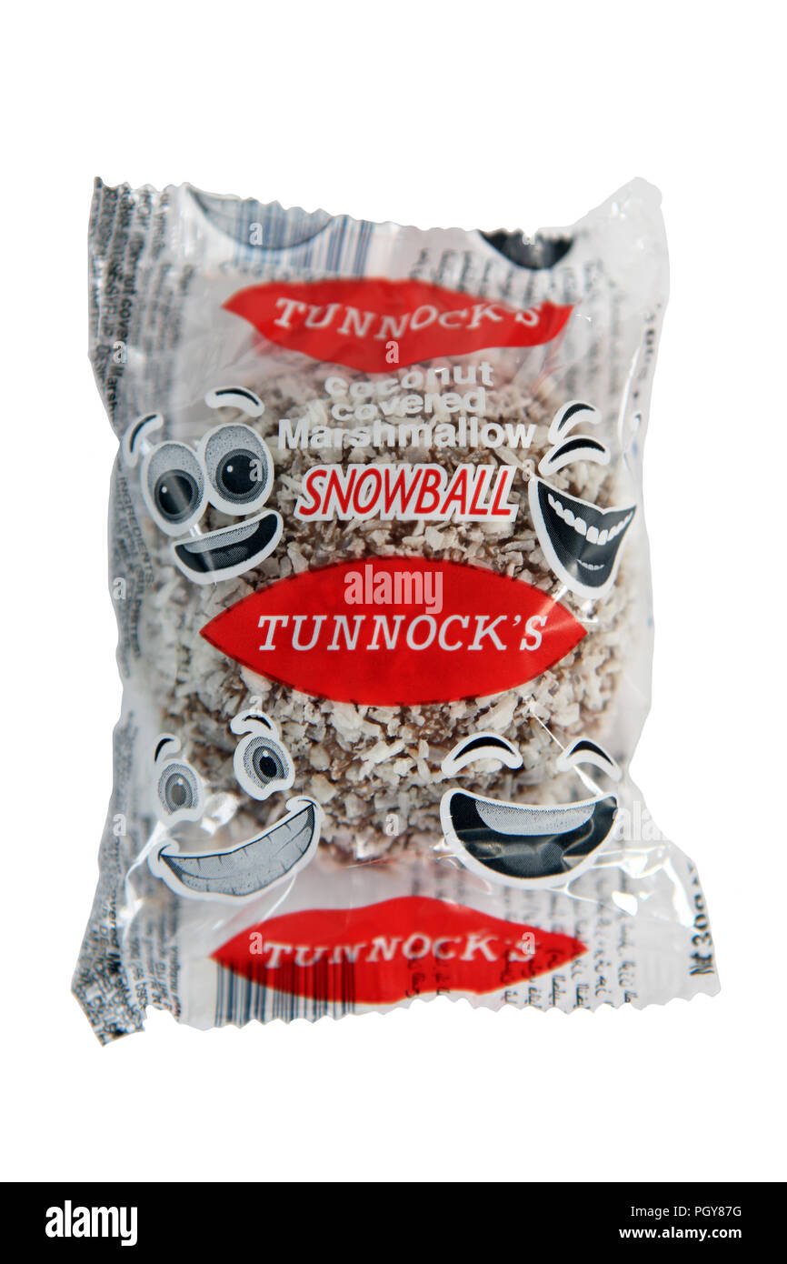 Tunnocks snowball a white background - Stock Image