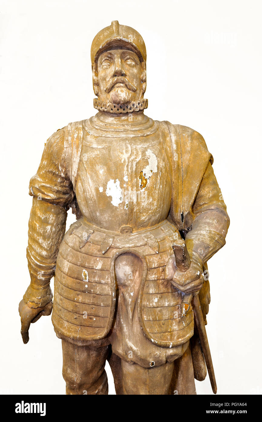 figurehead Imperial Royal Armored Frigate Don Juan de Austria. Wooden High M2.10 Representing a full-size Don Giovanni of Austria. The figurehead belonged to the Austro Ungarica unit which took part in the battle of Lissa - Stock Image