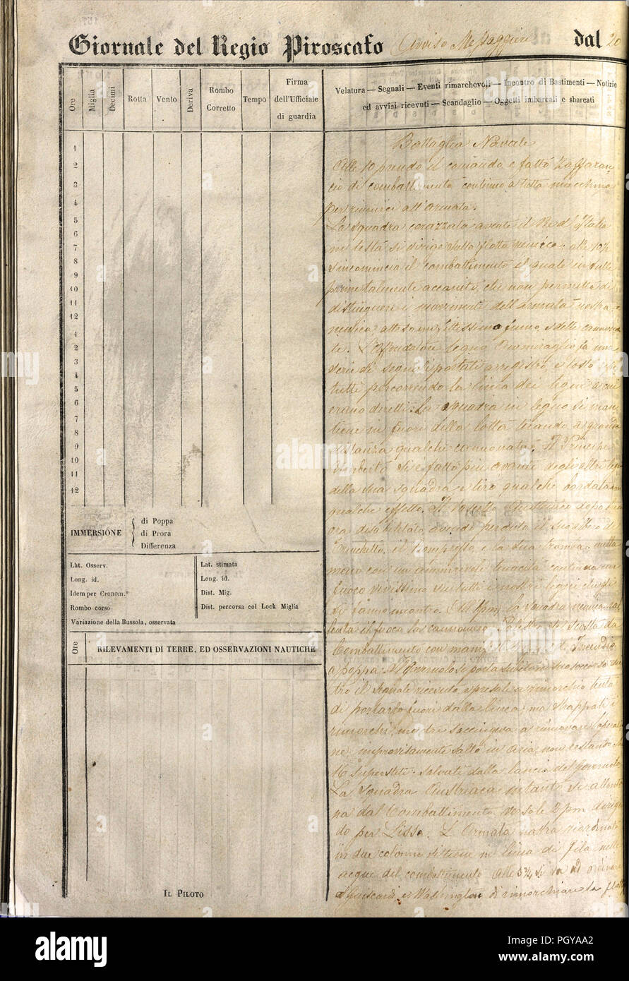 Logbook of the Regia Nave Mesaggero A page 158 shows the description of the Battle of Lissa - Stock Image
