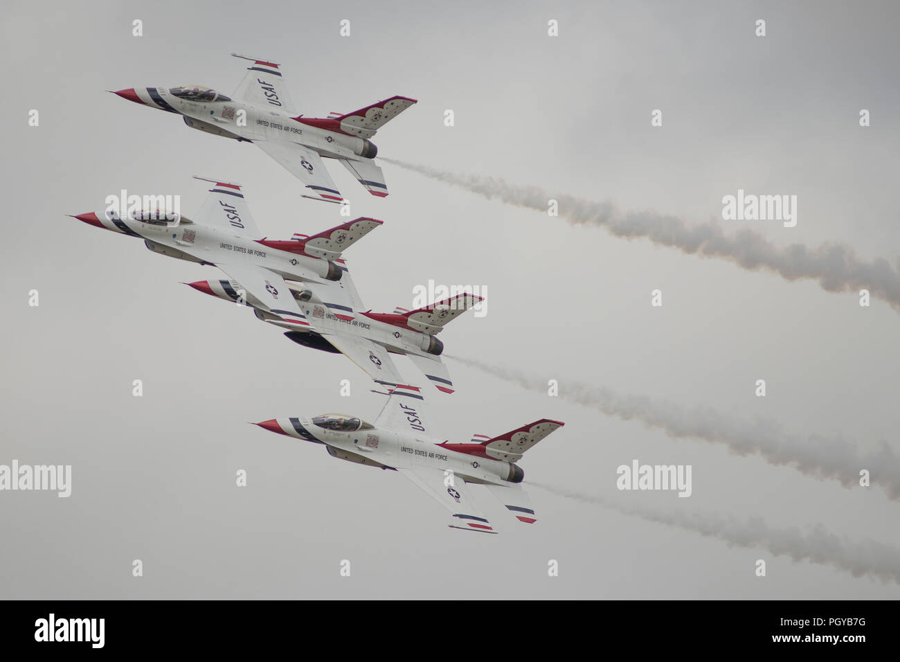 The Thunderbirds USAF aerobatic display team flying at RAF Fairford, RIAT 2017, in the UK - Stock Image
