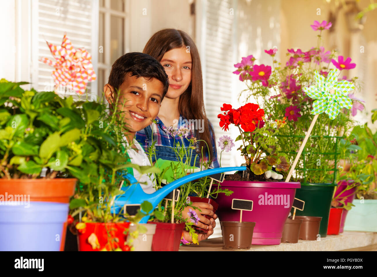 Portrait of preteen boy and girl watering potted flowers on balcony garden - Stock Image