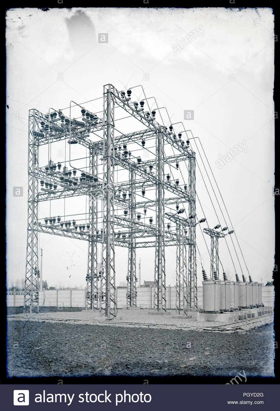 Electric Wiring Outside Old House Stock Photos Early Electrical High Voltage Power Distribution Network On Glass Plate France Circa 1930s Image