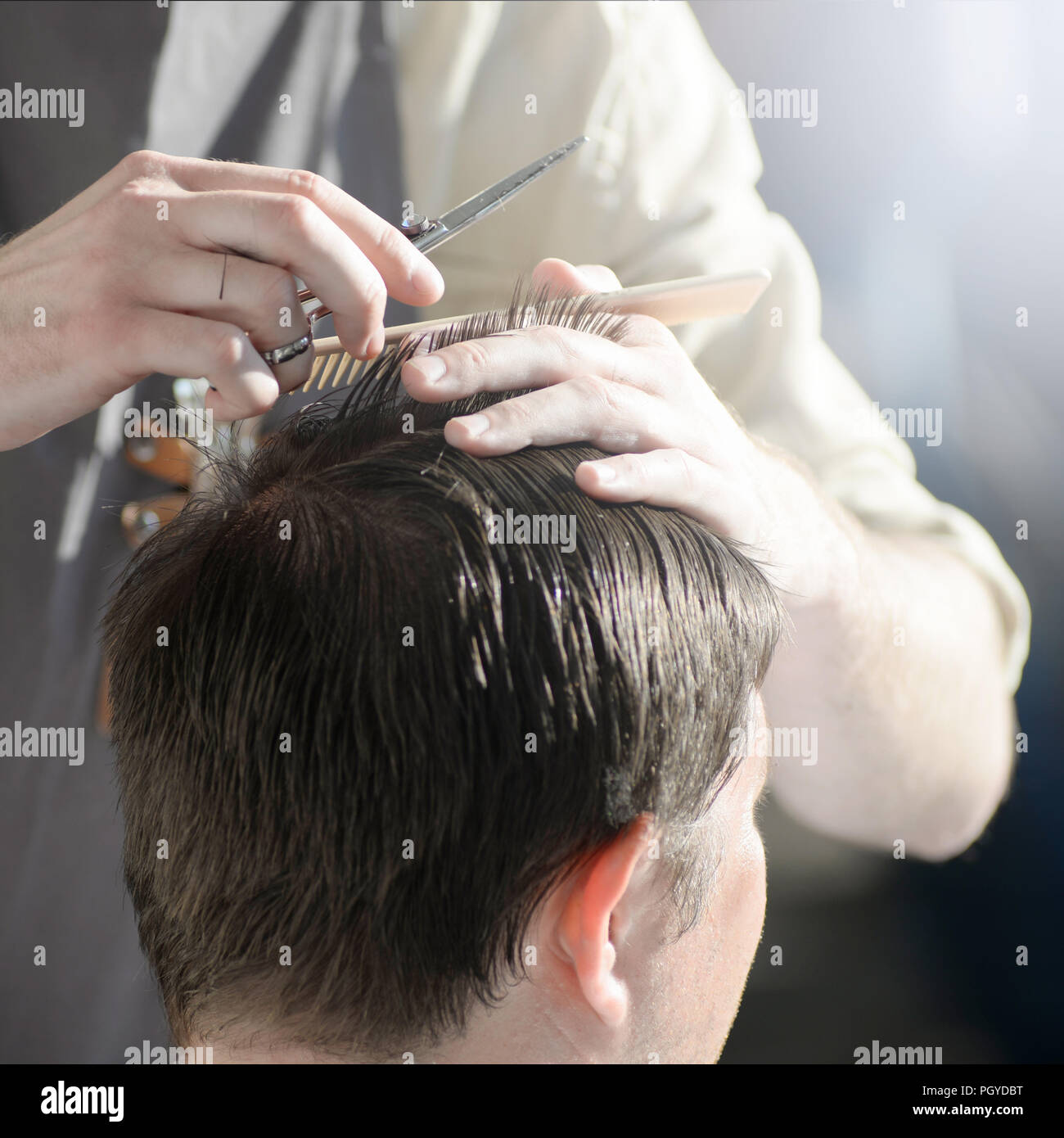 man getting haircut at barber shop. Hairdresser cutting hair of customer at salon. - Stock Image
