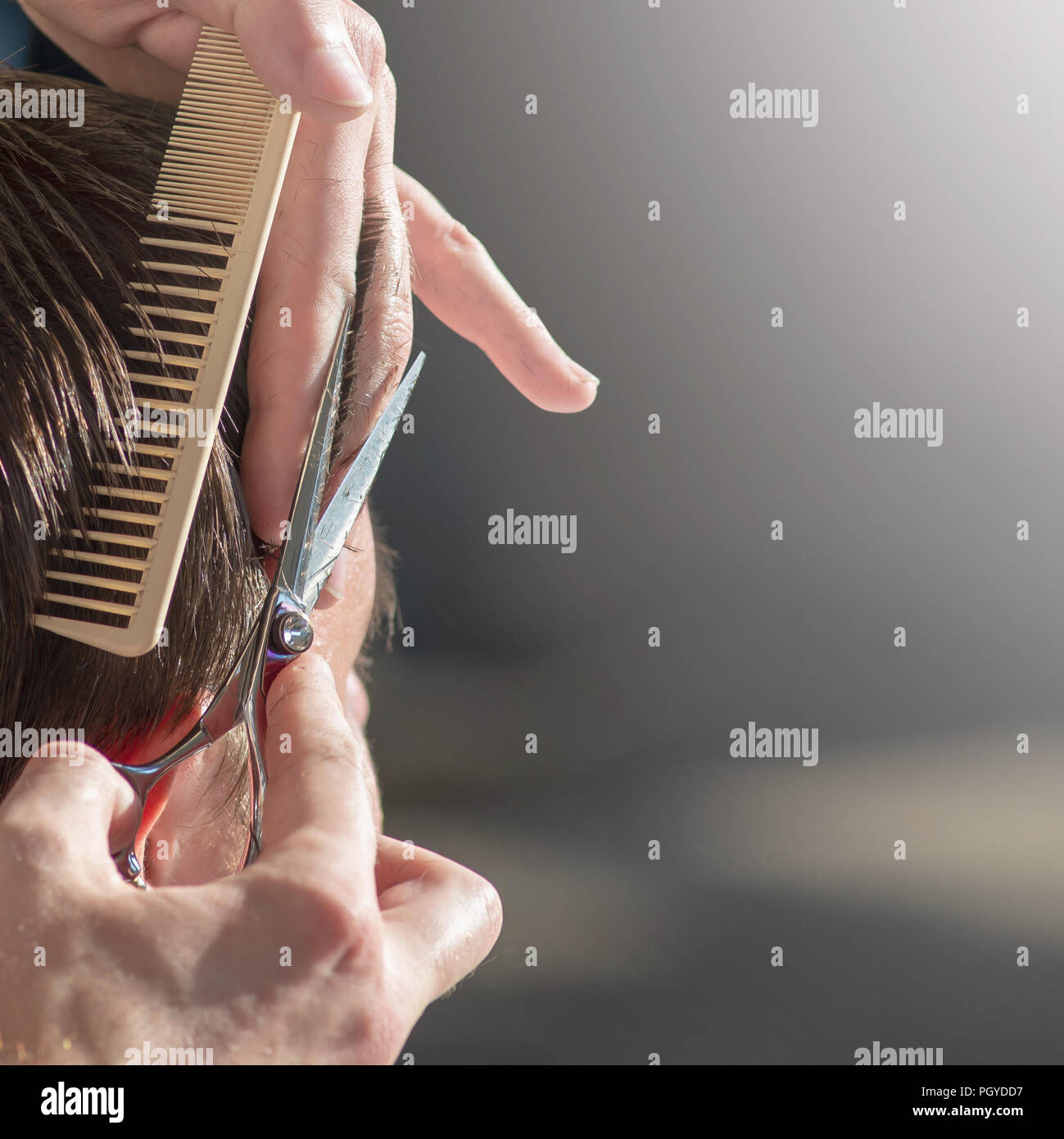 Hairdresser cutting hair of customer at salon. - Stock Image