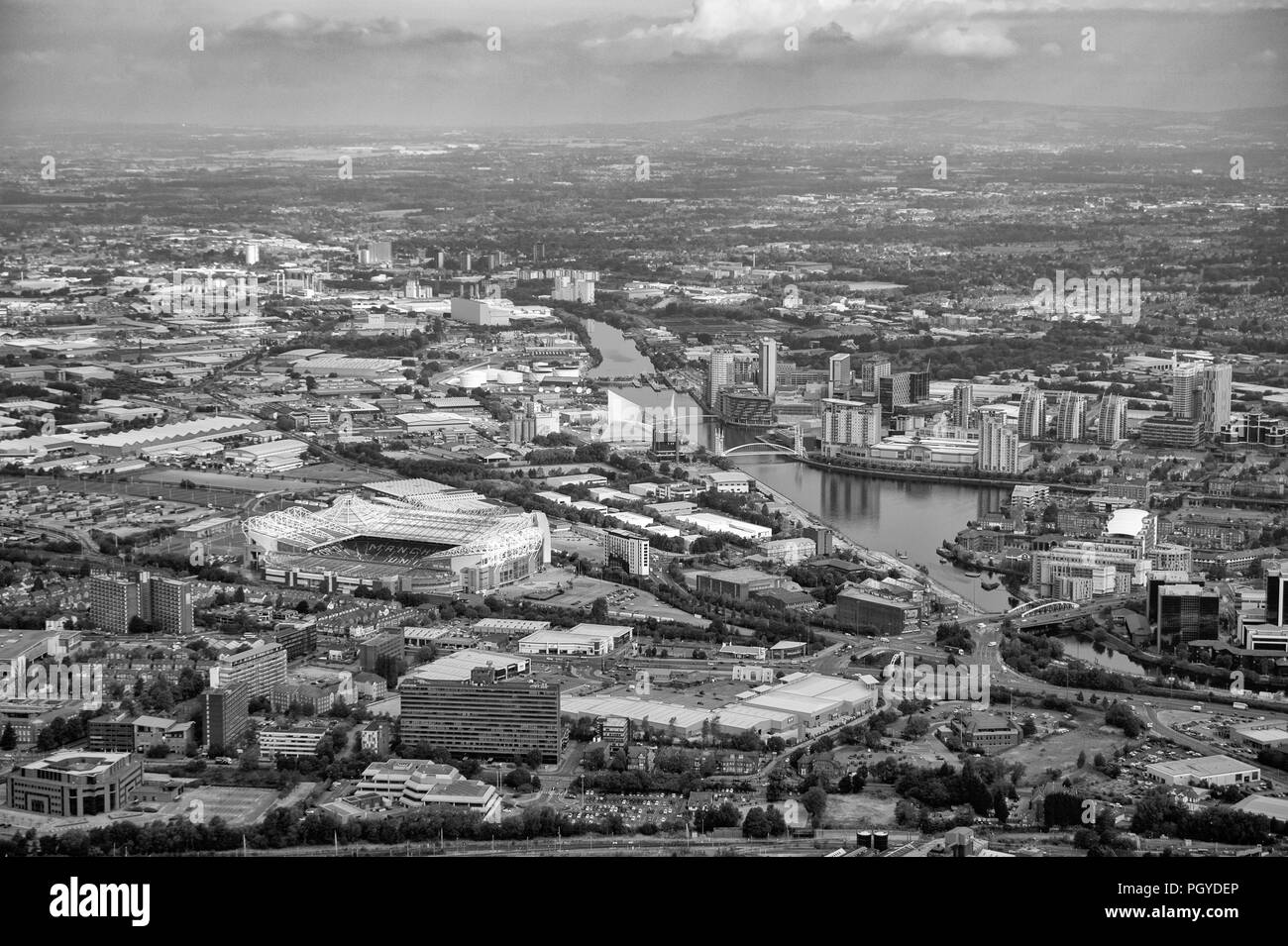Black and white aerial photo of Manchester United`s Old Trafford Stadium - Stock Image