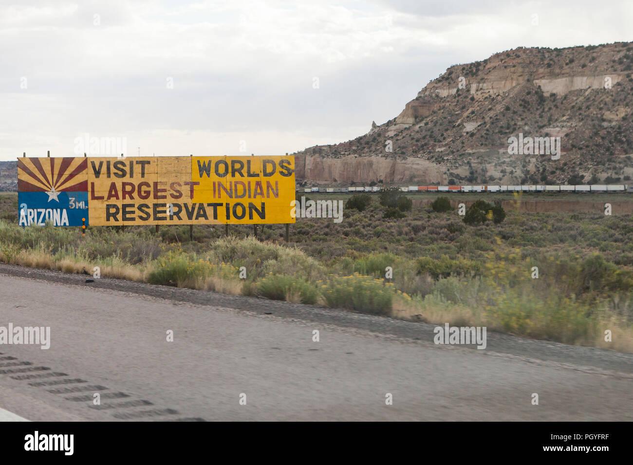 Indian reservation advertisement highway billboard - Arizona USA - Stock Image