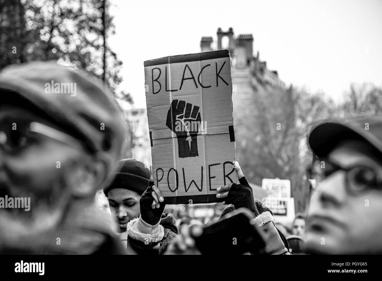 March and protest for Anti Slavery in Lybia, taken place in London - Stock Image