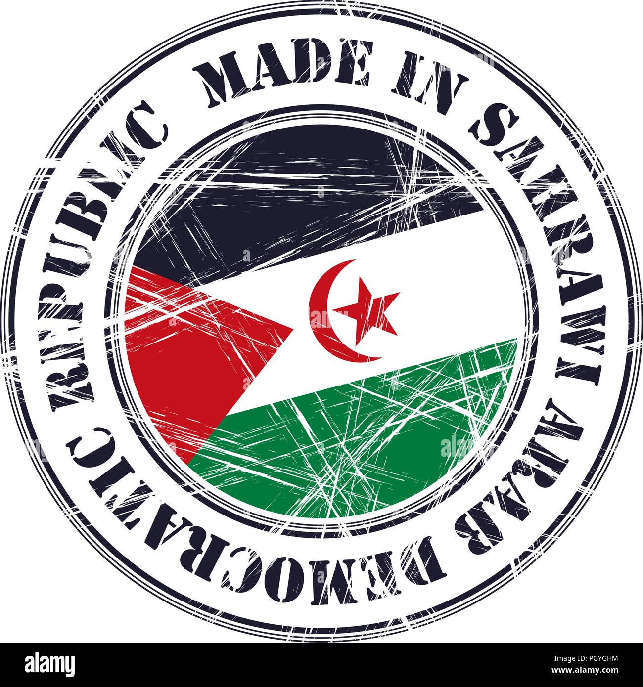 Made in Sahrawi Arab Democratic Republic grunge rubber stamp with flag - Stock Image