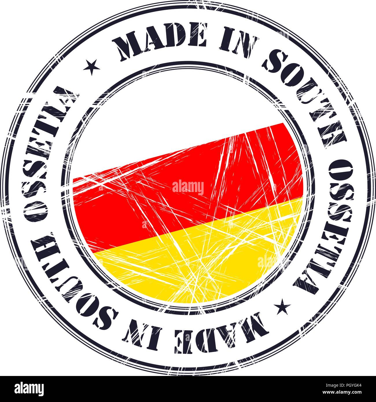 Made in South Ossetia grunge rubber stamp with flag - Stock Image