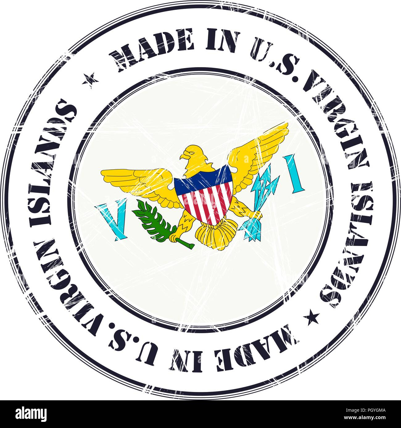 Made in U.S.Virgin Islands grunge rubber stamp with flag - Stock Vector