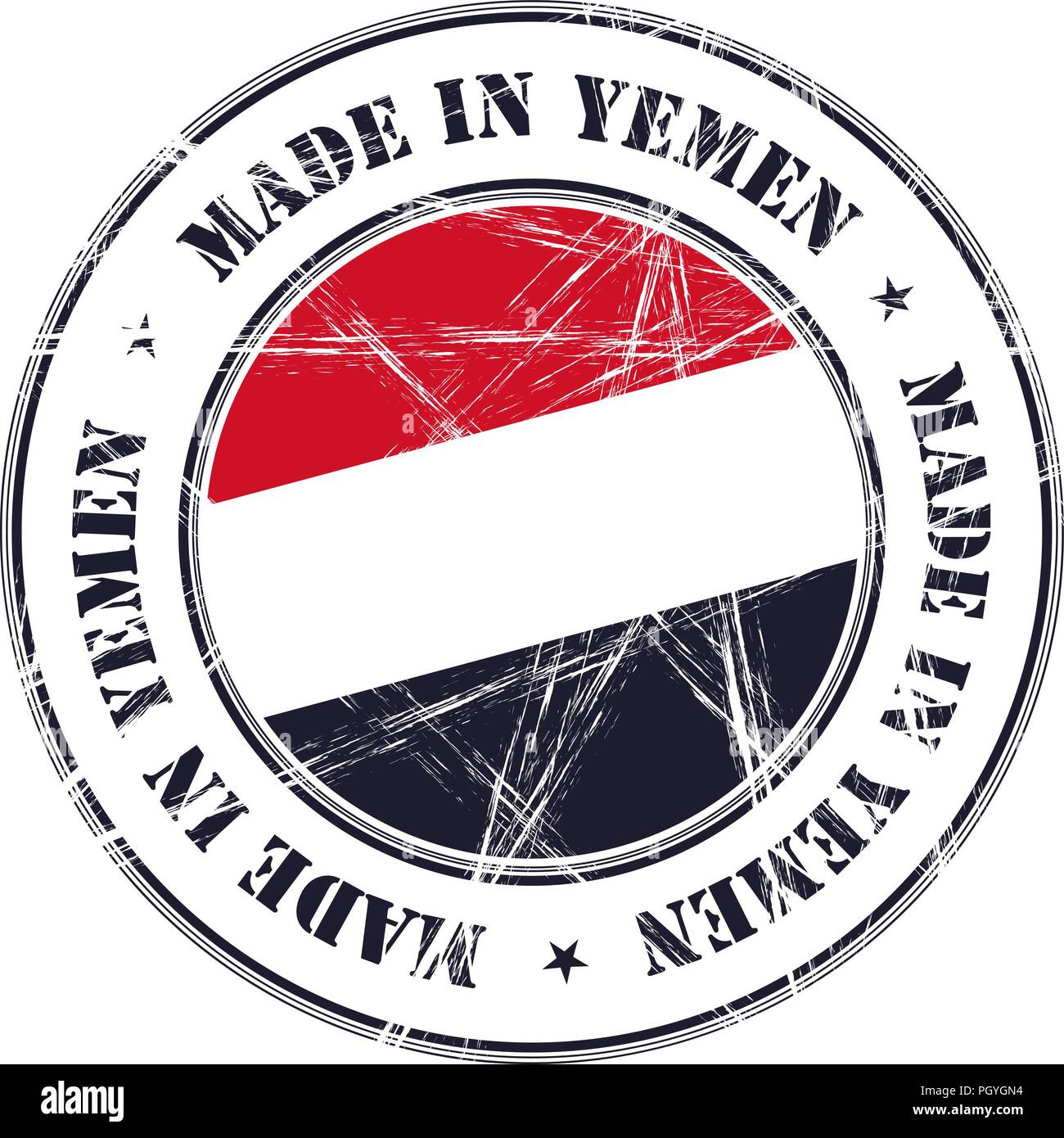 Made in Yemen grunge rubber stamp with flag - Stock Vector