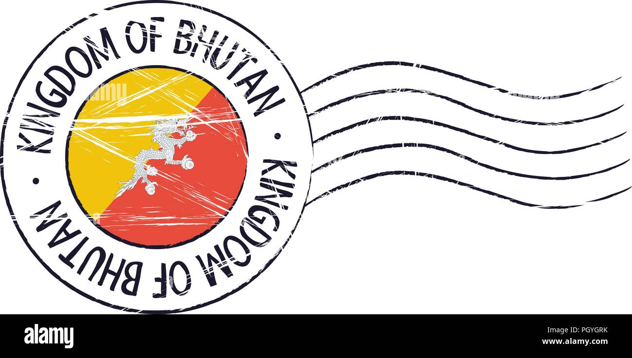 Bhutan grunge postal stamp and flag on white background - Stock Vector
