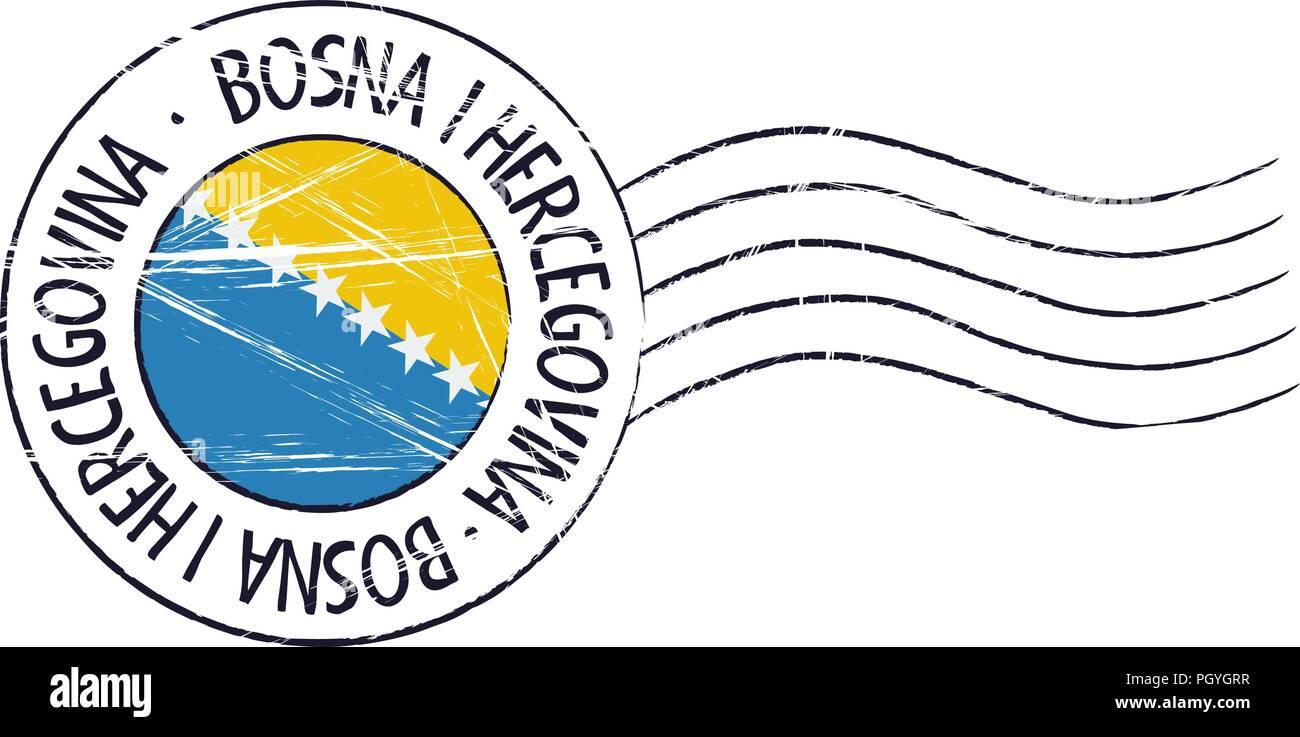 Bosnia and Herzegovina  grunge postal stamp and flag on white background - Stock Vector