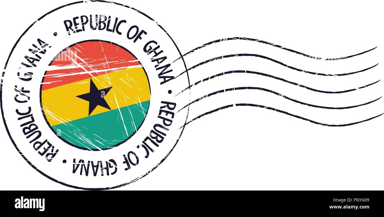 Ghana grunge postal stamp and flag on white background - Stock Vector