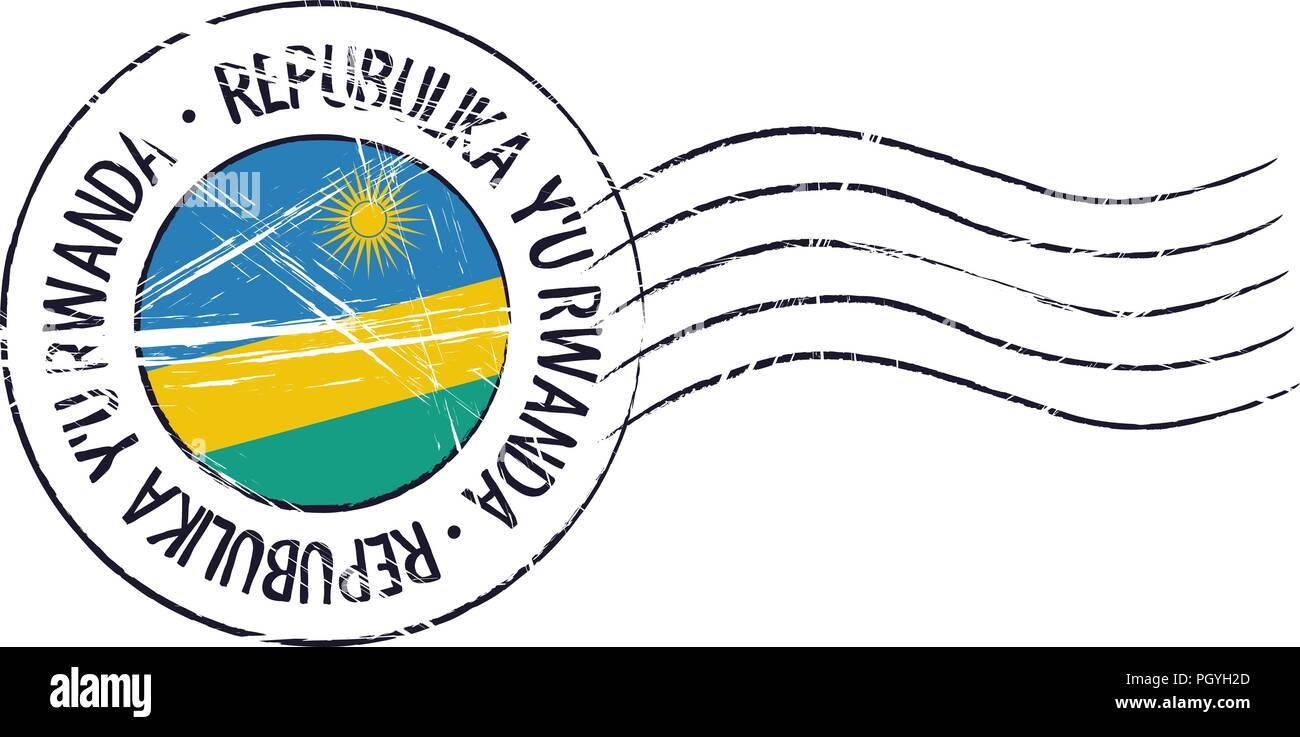Rwanda grunge postal stamp and flag on white background - Stock Vector