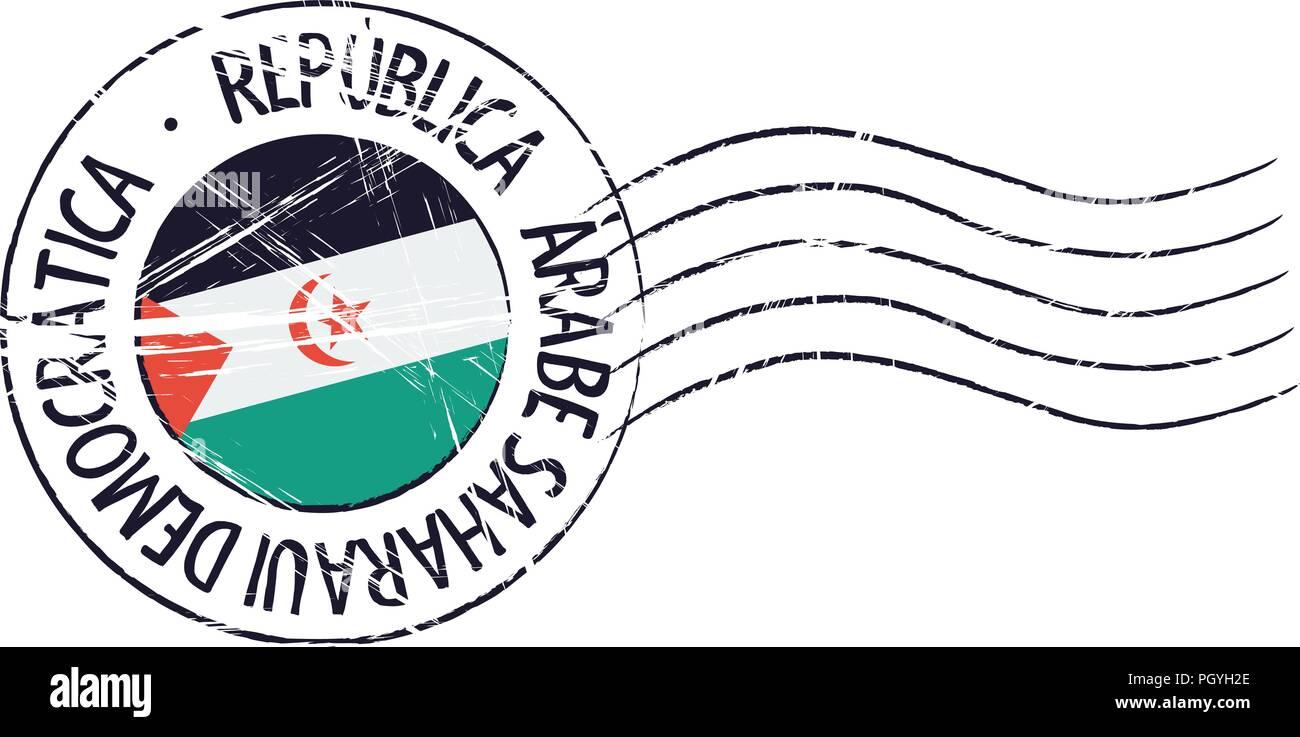 Sahrawi grunge postal stamp and flag on white background - Stock Image