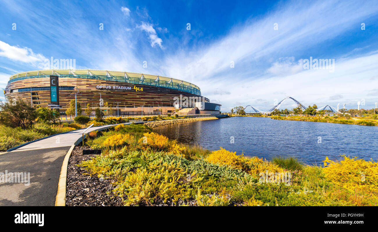 Optus Stadium surrounded by parkland. - Stock Image