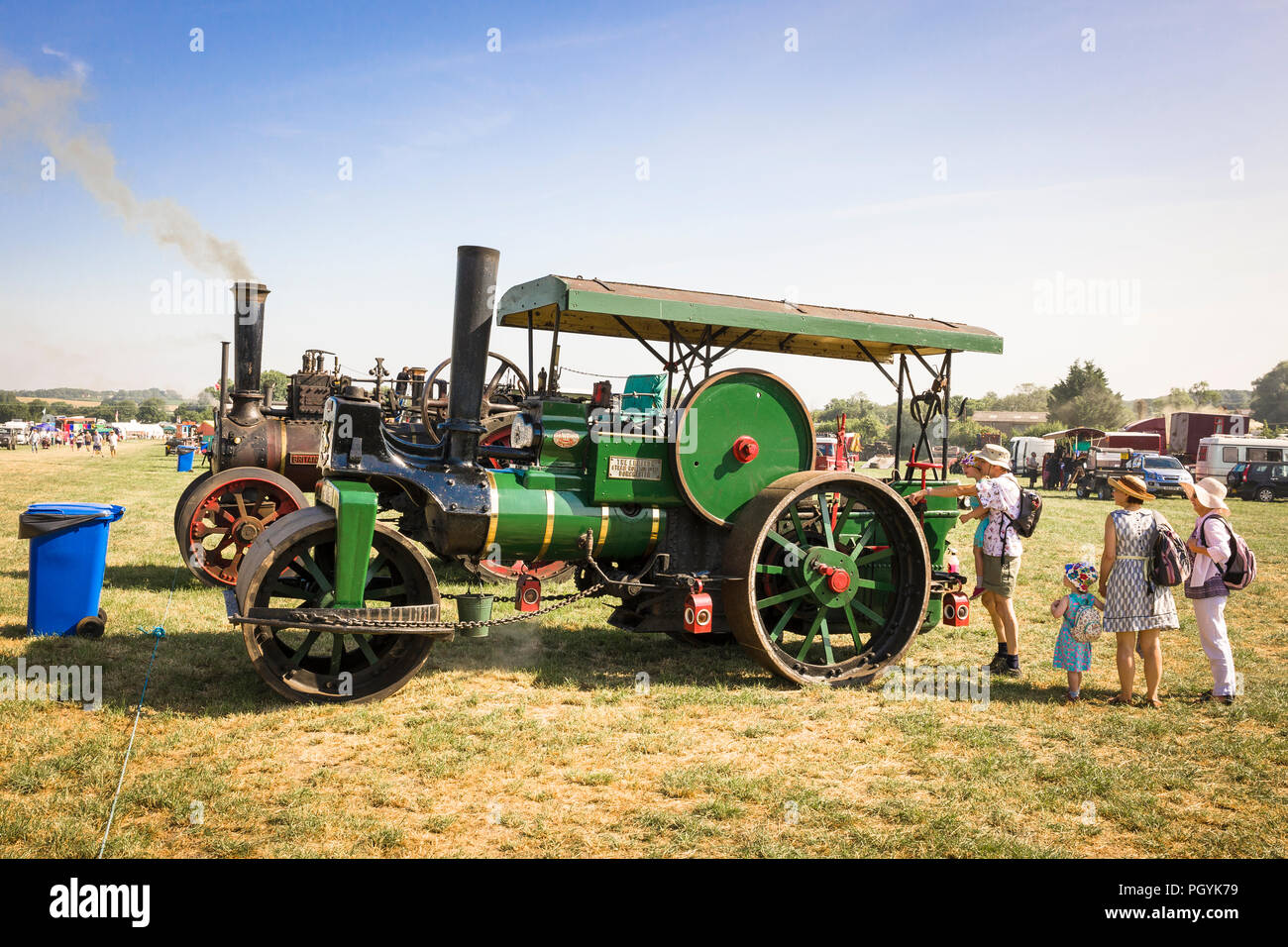 An old Aveling & Porter steam roller on display at Heddington Country Show 2018 in Wiltshire England UK - Stock Image