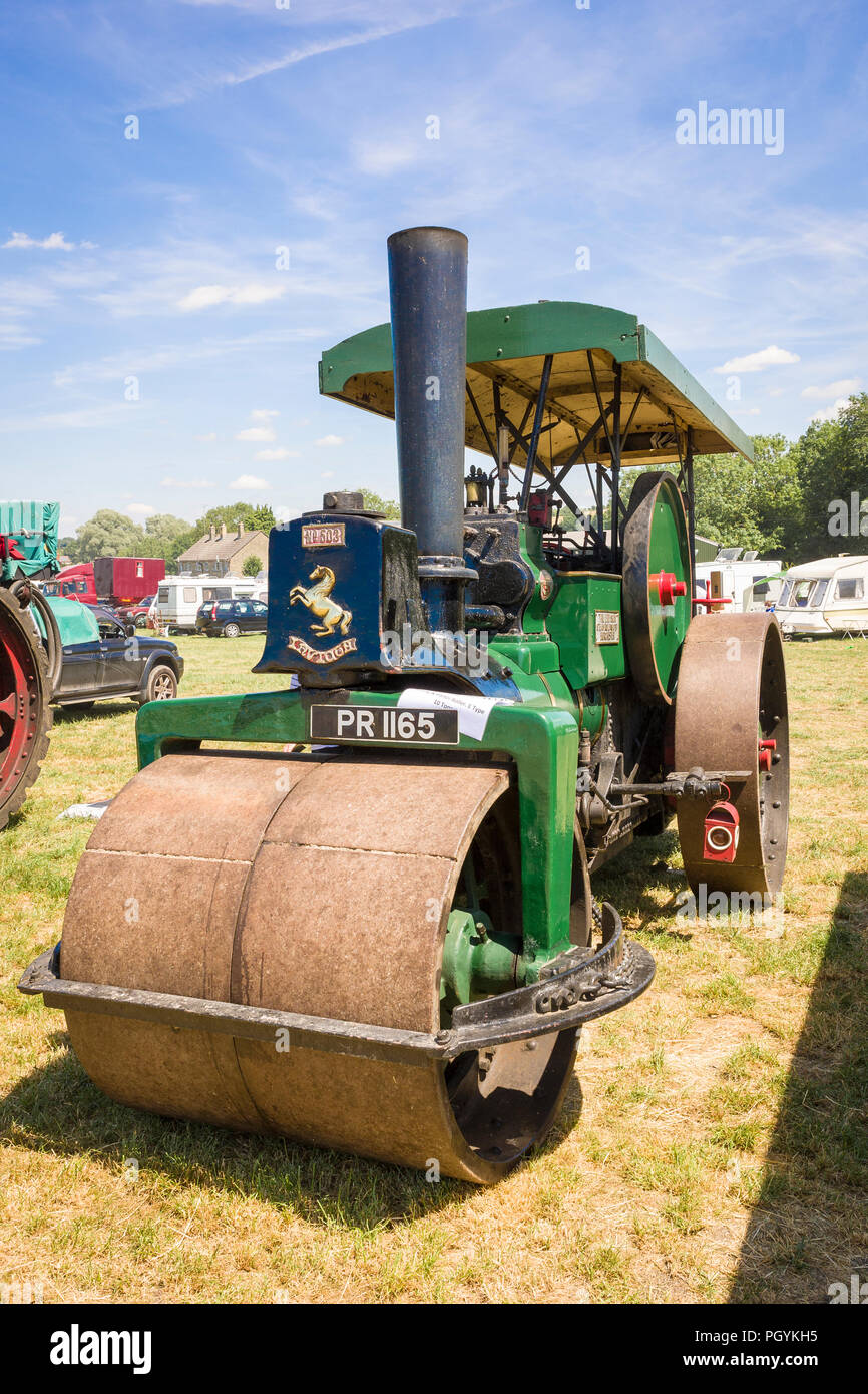 Aveling and Porter steam roller at Heddington Country Show in 2018 in UK - Stock Image