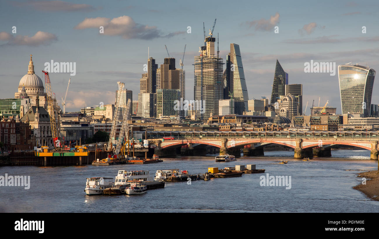 London, England, UK - June 12, 2018: New skyscrapers under construction in Bishopsgate contribute to the ever-changing City of London skyline as viewe - Stock Image