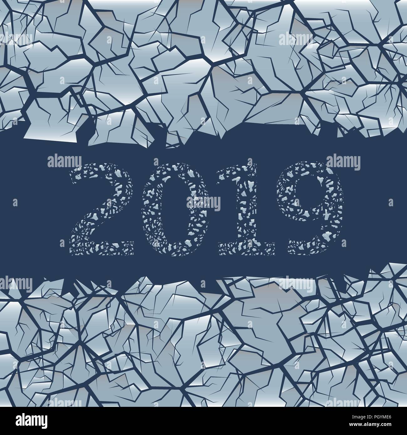 winter frozen backdrop with hole for simple text 2019 happy new year and merry christmas