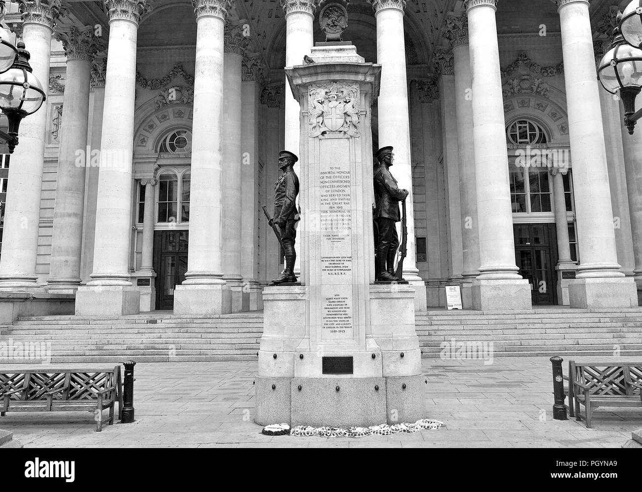 the Royal Exchange in City of London, England.  Black and white photo. - Stock Image