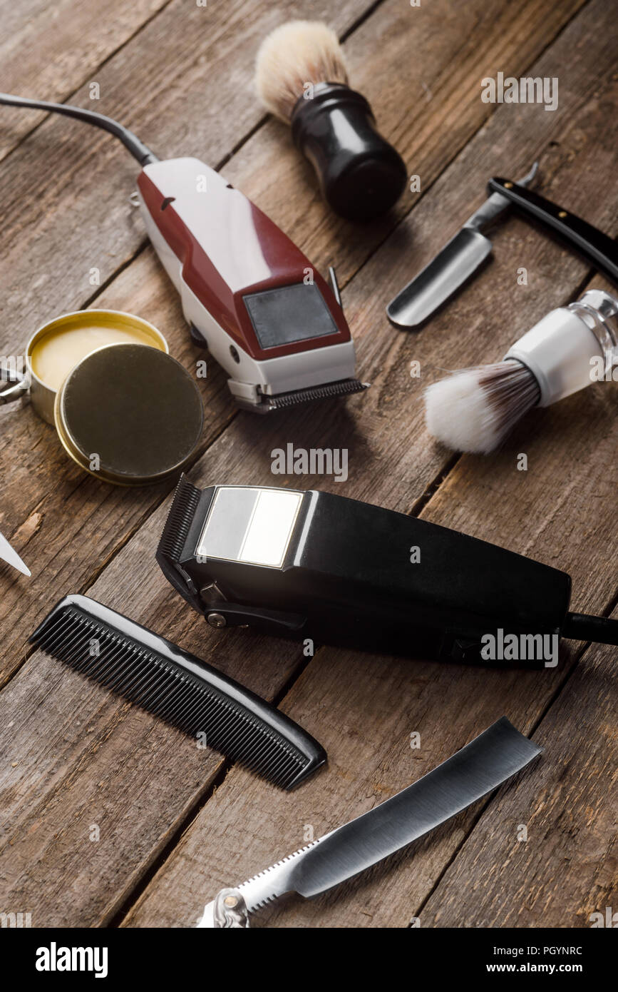 Electric hair trimmers and brushes - Stock Image