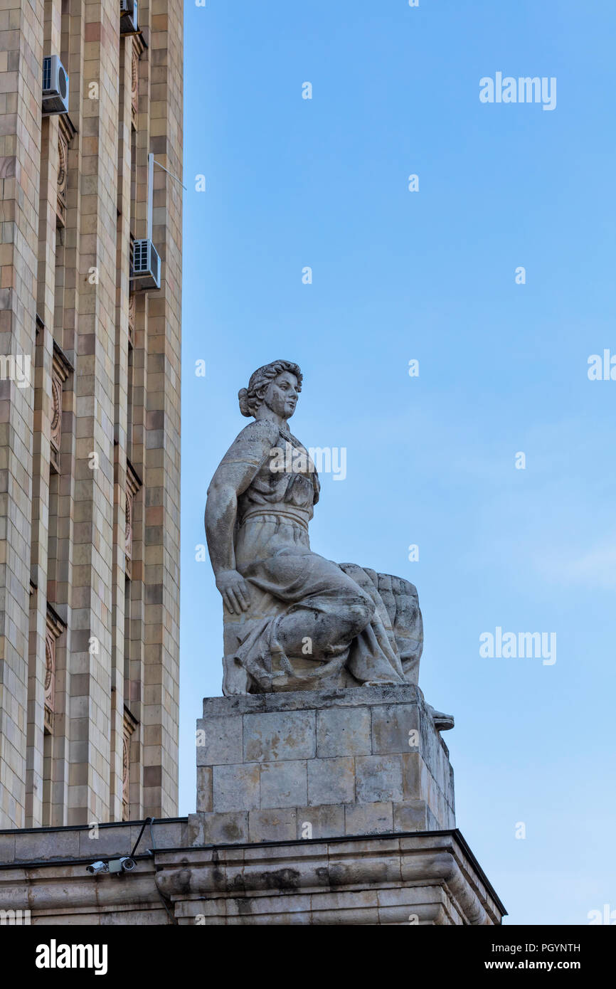Sculpture at Kudrinskaya Square Building (1954), one of seven Stalinist skyscrapers, Moscow, Russia Stock Photo