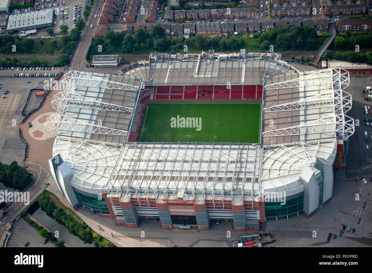 Aerial photo Manchester United Old Trafford Stadium - Stock Image