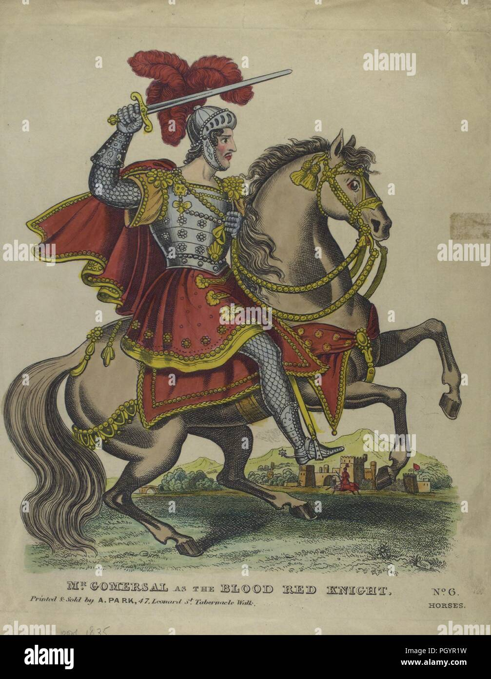 Colour print, likely hand-painted, depicting a full-length, profile view of British actor Mr Edward Alexander Gomersal, with a serious expression on his face, wielding a sword in one hand, dressed in a silver helmet, armor and chain mail, and a red tunic and cape, and riding on the back of a horse with red caparisoning, while performing the titular role from the play 'The Blood Red Knight, ' by William Barrymore, ' published in London by A Park, 1835. From the New York Public Library. () - Stock Image