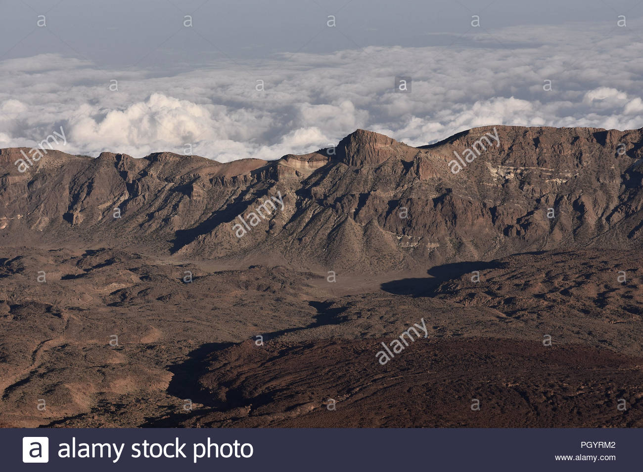Volcanic mountains and lava fields of Teide National Park, Tenerife Canary Islands Spain. Elevated view from Mount Teide (3260 m above sea level). - Stock Image
