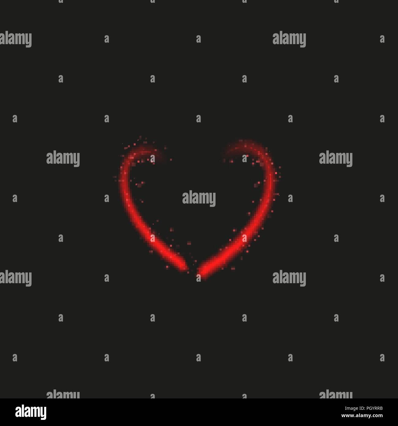Bright neon heart  Heart sign on dark transparent background