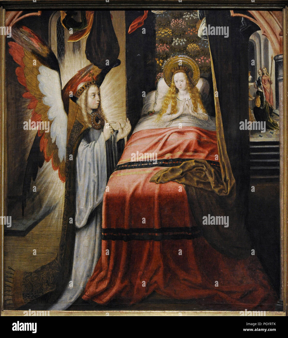Master of the Legend of Saint Ursula and workshop (active in Cologne, ca.1480/1490-ca.1510/1515). Appearance of the angel, ca.1492-1496. Wallraf-Richart Museum. Cologne. Germany. - Stock Image