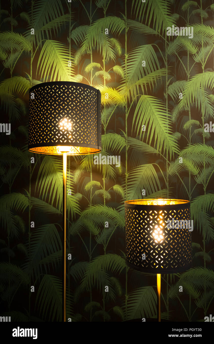 Decorative Floor Lamps In The Living Room With Tropical Vintage Wallpaper Background Home Decoration And Interior Design Concept