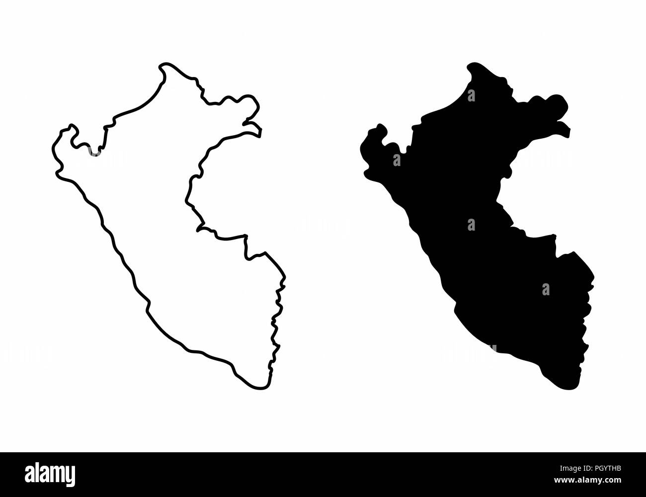 Simplified maps of Peru. Black and white outlines. - Stock Vector