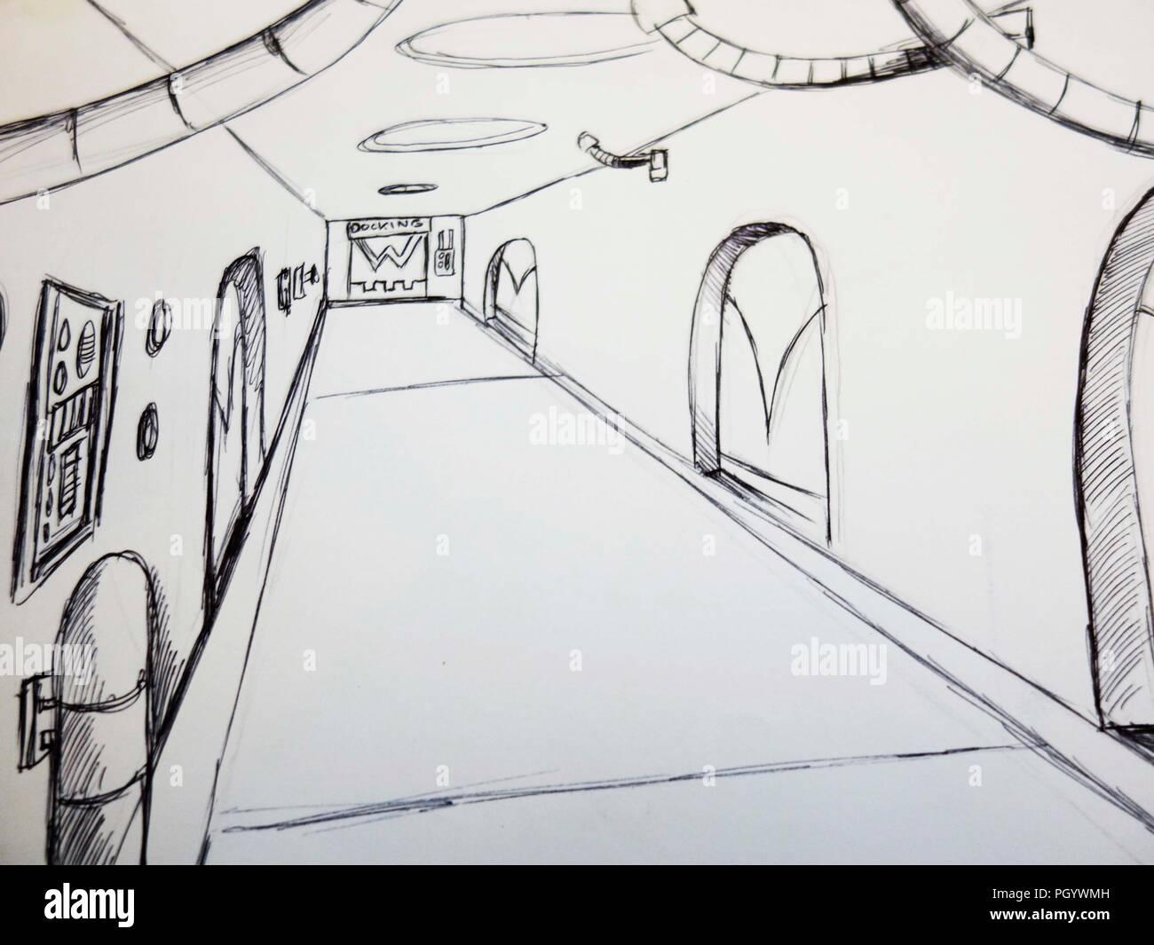 scifi corridor - Stock Image
