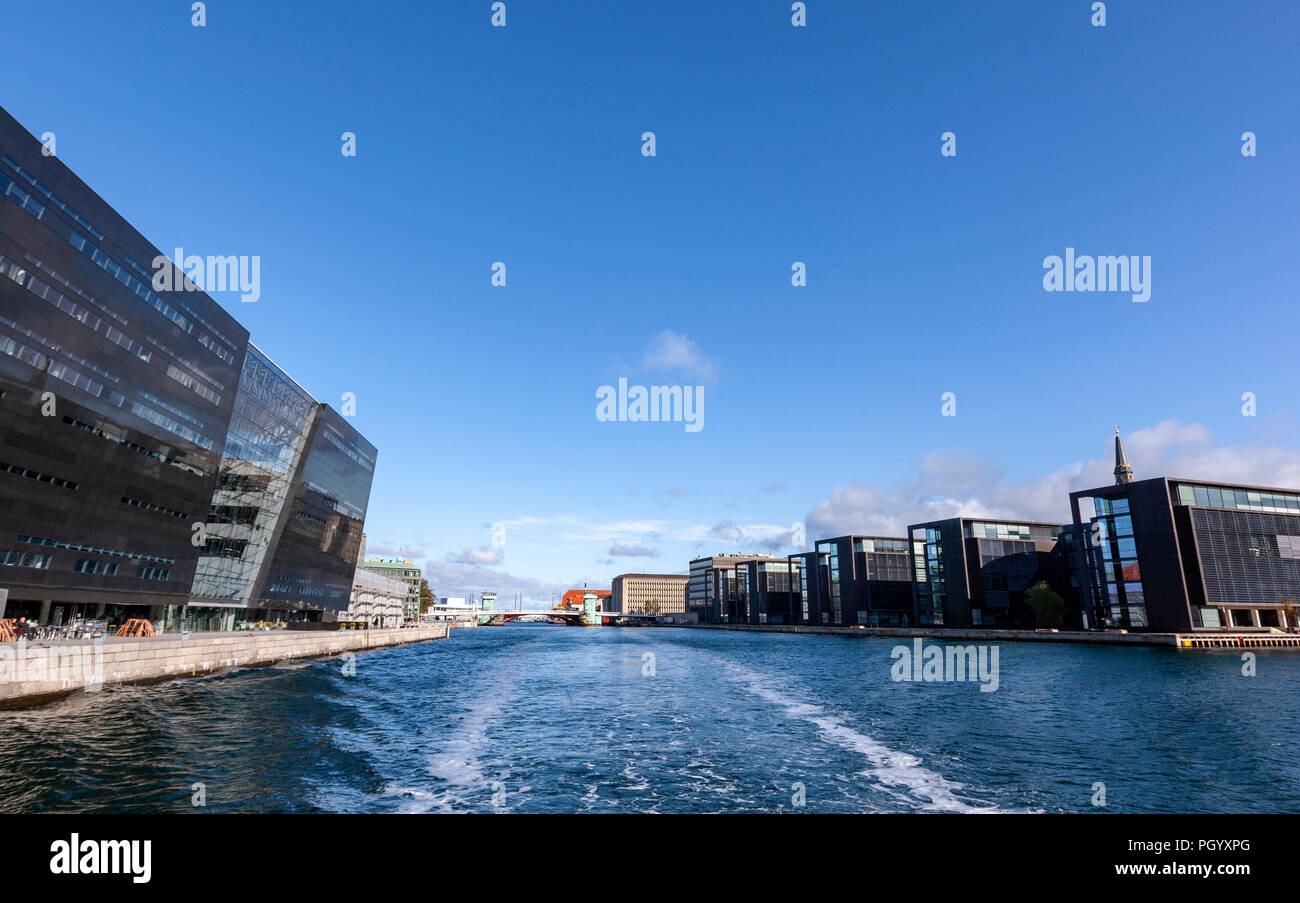 Søren Kierkegaards Plads with the Royal Danish Library, The Black Diamond library, Designed by architects Schmidt Hammer Lassen, Copenhagen, Denmark. Stock Photo