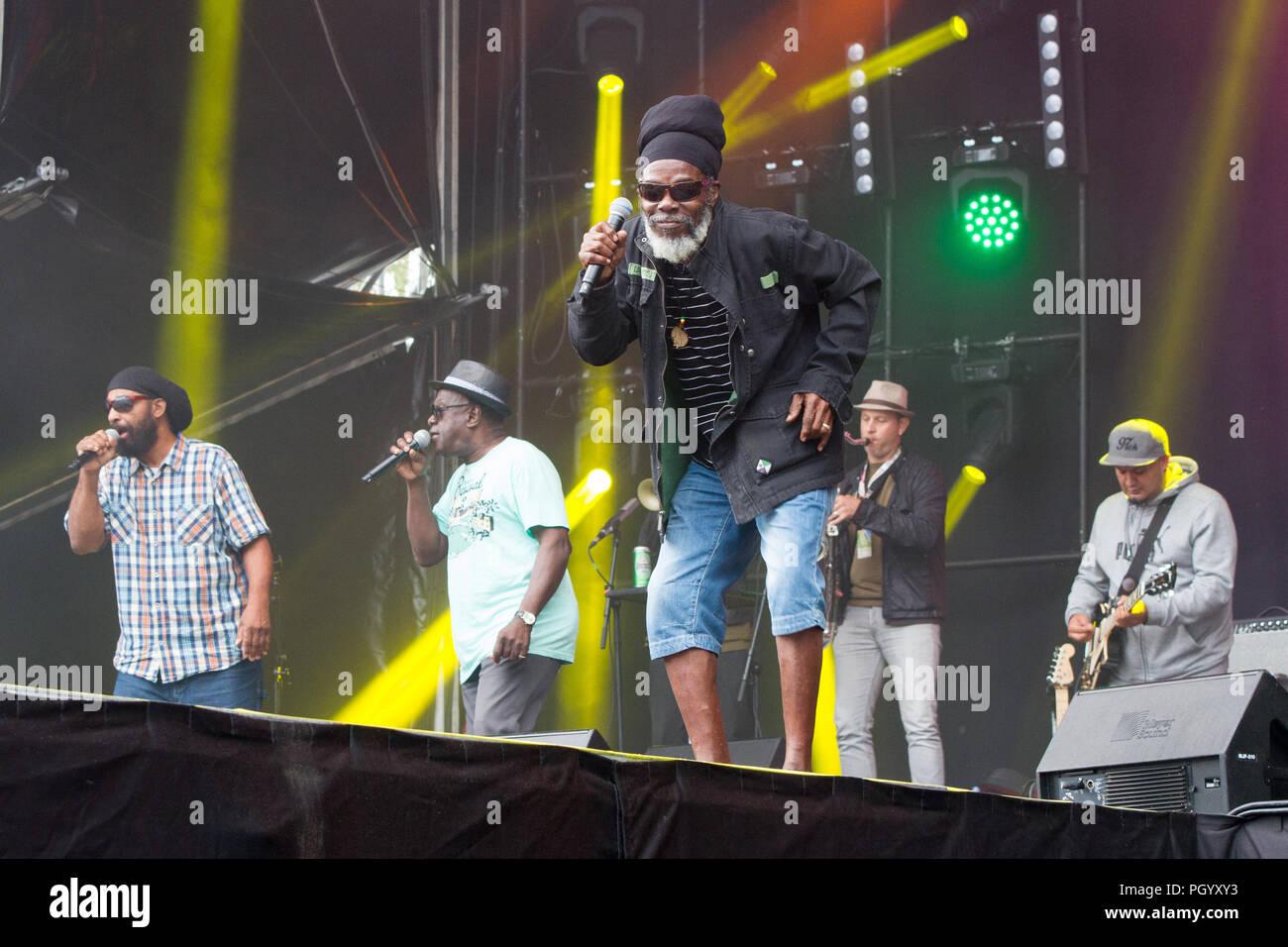 Bratislava, Slovakia. 25th August, 2018. Jamaican harmony trio Mighty Diamonds performs at Uprising Music Festival. - Stock Image