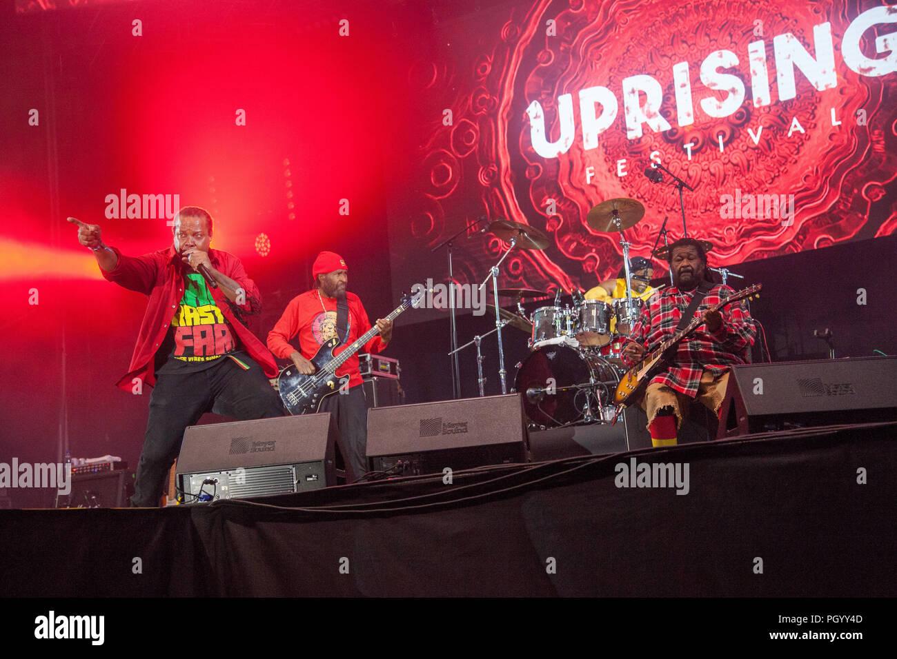 Bratislava, Slovakia. 25th August, 2018. Jamaican reggae band Inner Circle performs at Uprising Music Festival. - Stock Image