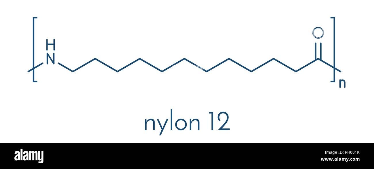 Nylon 12 polymer, chemical structure. Skeletal formula. - Stock Vector