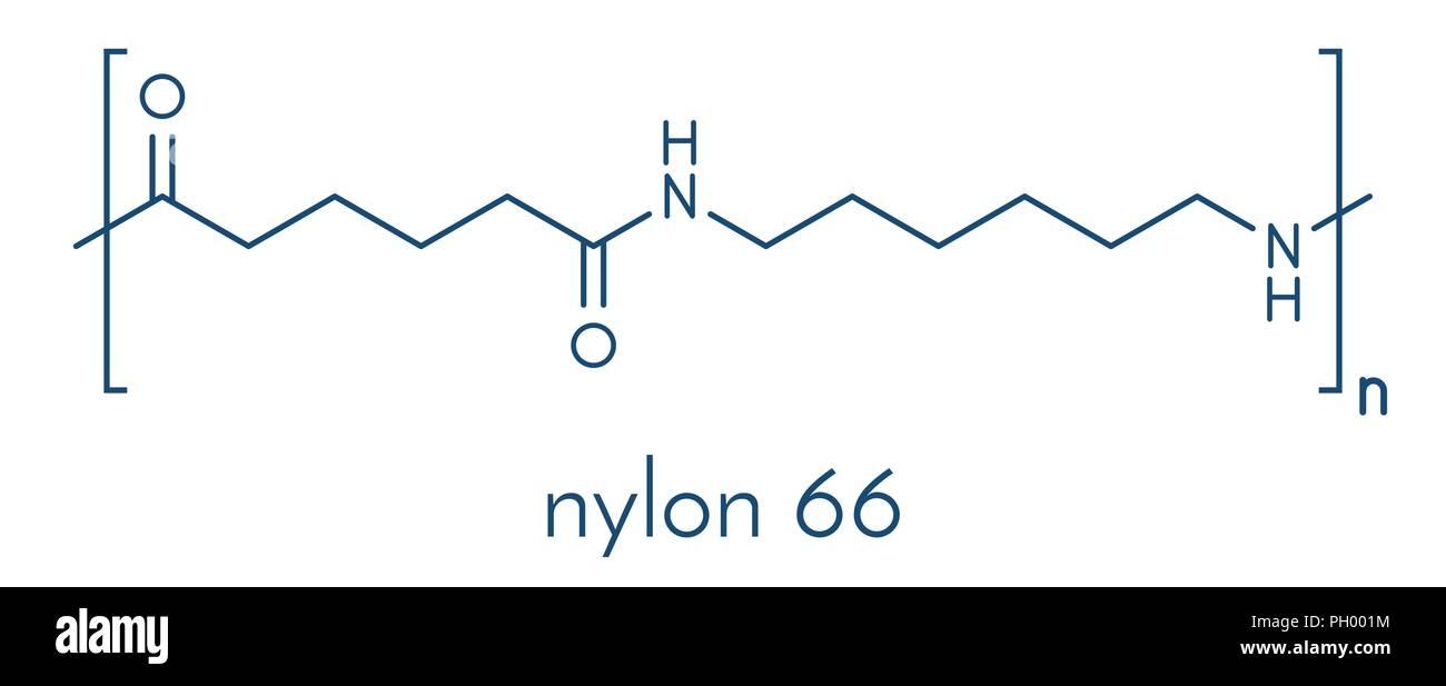 Nylon (nylon-6,6) plastic polymer, chemical structure  Skeletal