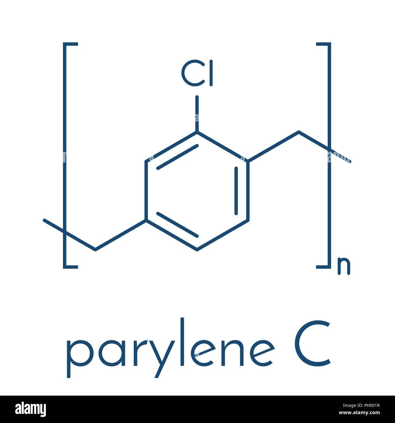Parylene C polymer, chemical structure. Skeletal formula. - Stock Vector