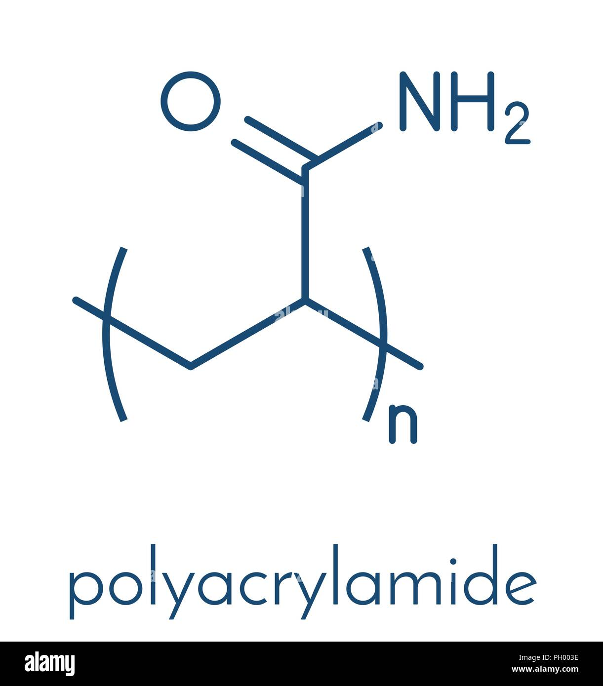 Polyacrylamide (PAM) polymer, chemical structure. Skeletal formula. - Stock Vector