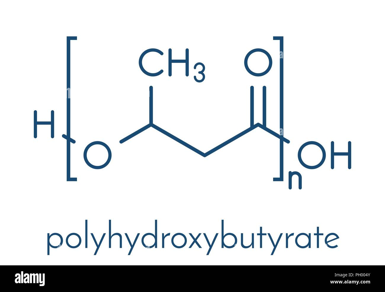 Polyhydroxybutyrate (PHB) biodegradable plastic, chemical structure